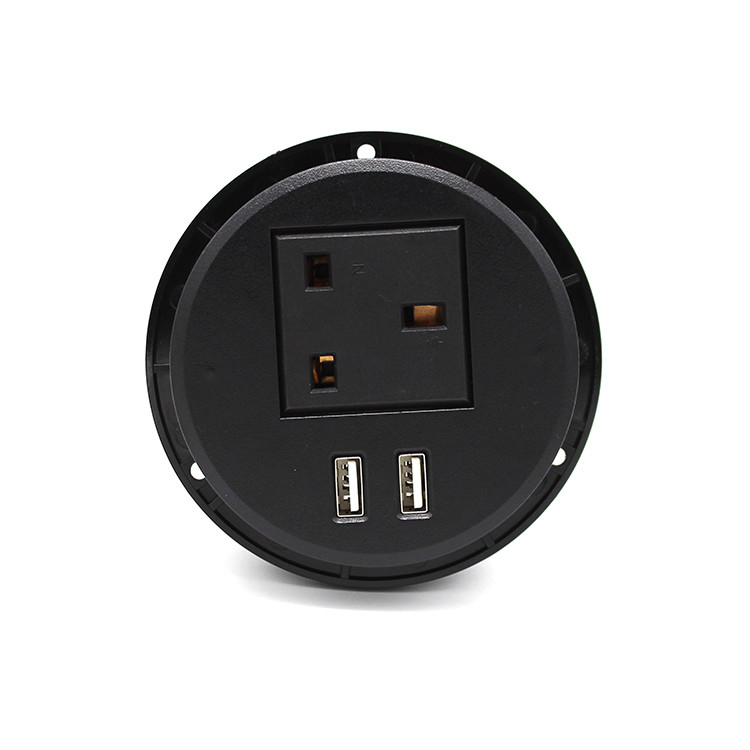 Smart British Furniture AC Black Round Power Socket Embedded Installation